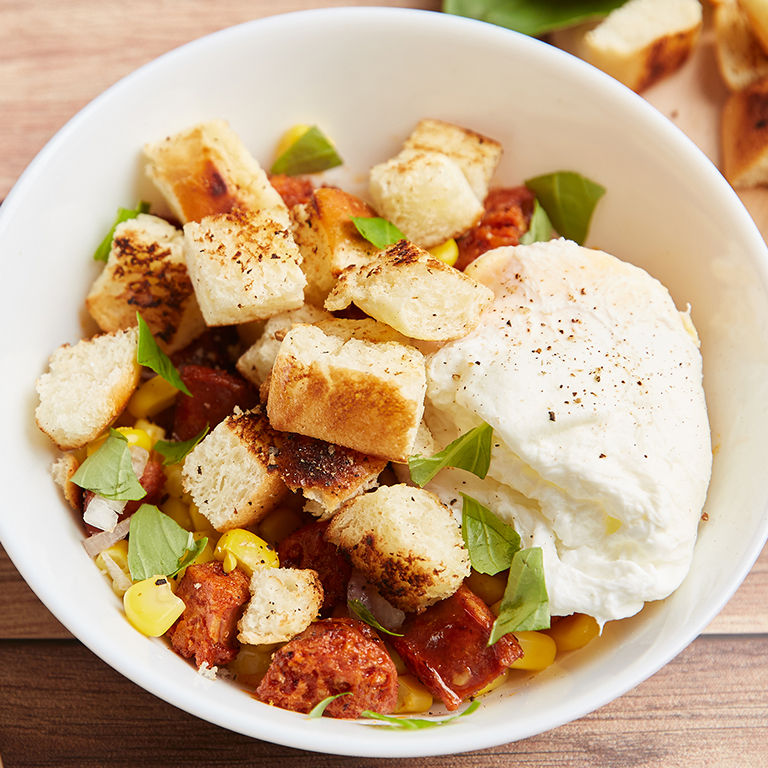 Chorizo Salad with Brioche Croutons