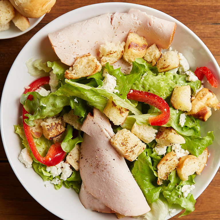 Greek Chicken Salad with Brioche Croutons