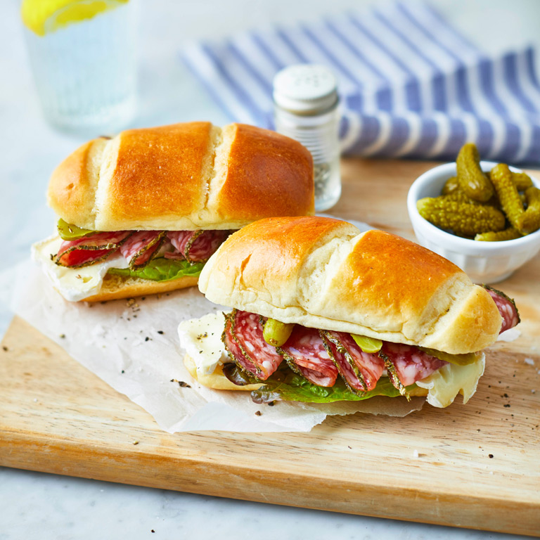Saucission and Cornichons Brioche Roll